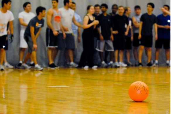 Players line up in the 2012 Dodgeball Tournament. Photo by Conor Dube.